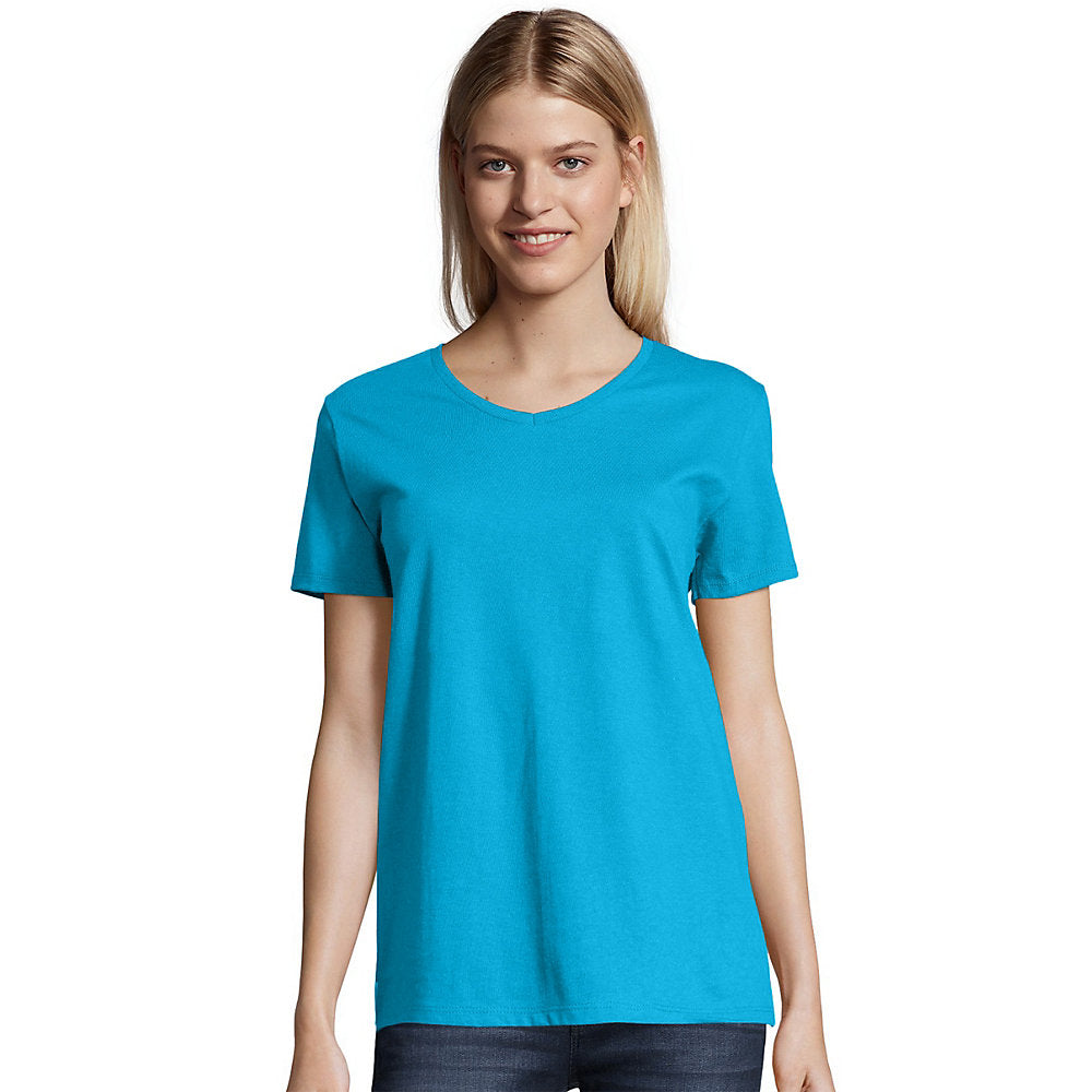 Hanes Relaxed Fit Women's ComfortSoft V-neck T-Shirt - Lil&Laya