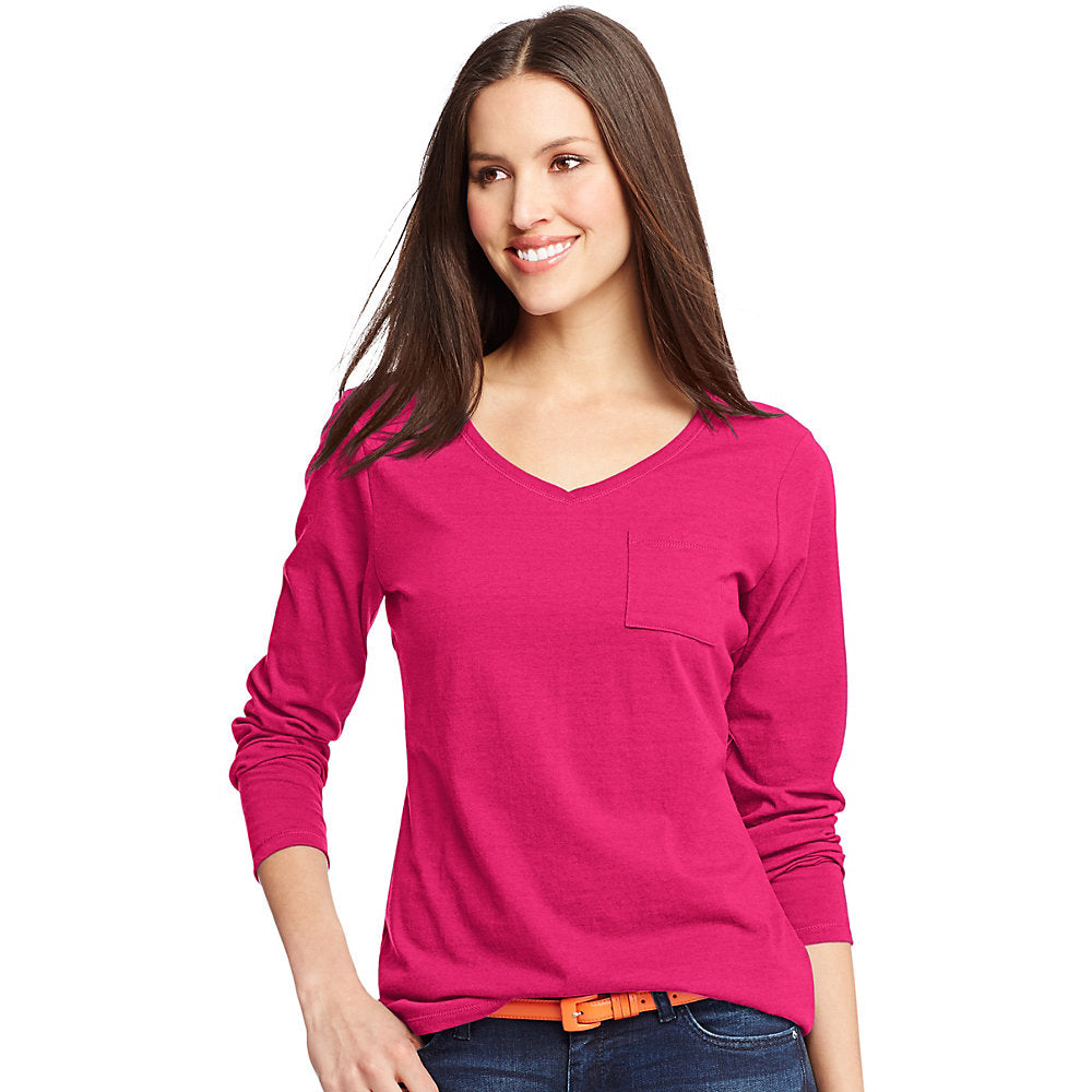 Hanes Women's V-Neck Long-Sleeve Pocket T-Shirt - Lil&Laya