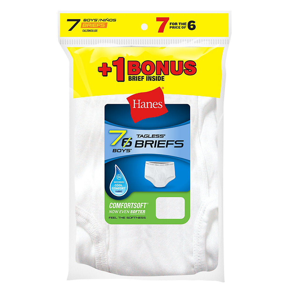 Hanes Boys' TAGLESS® White Briefs 7-Pack (Includes 1 Free Bonus Brief) - Lil&Laya
