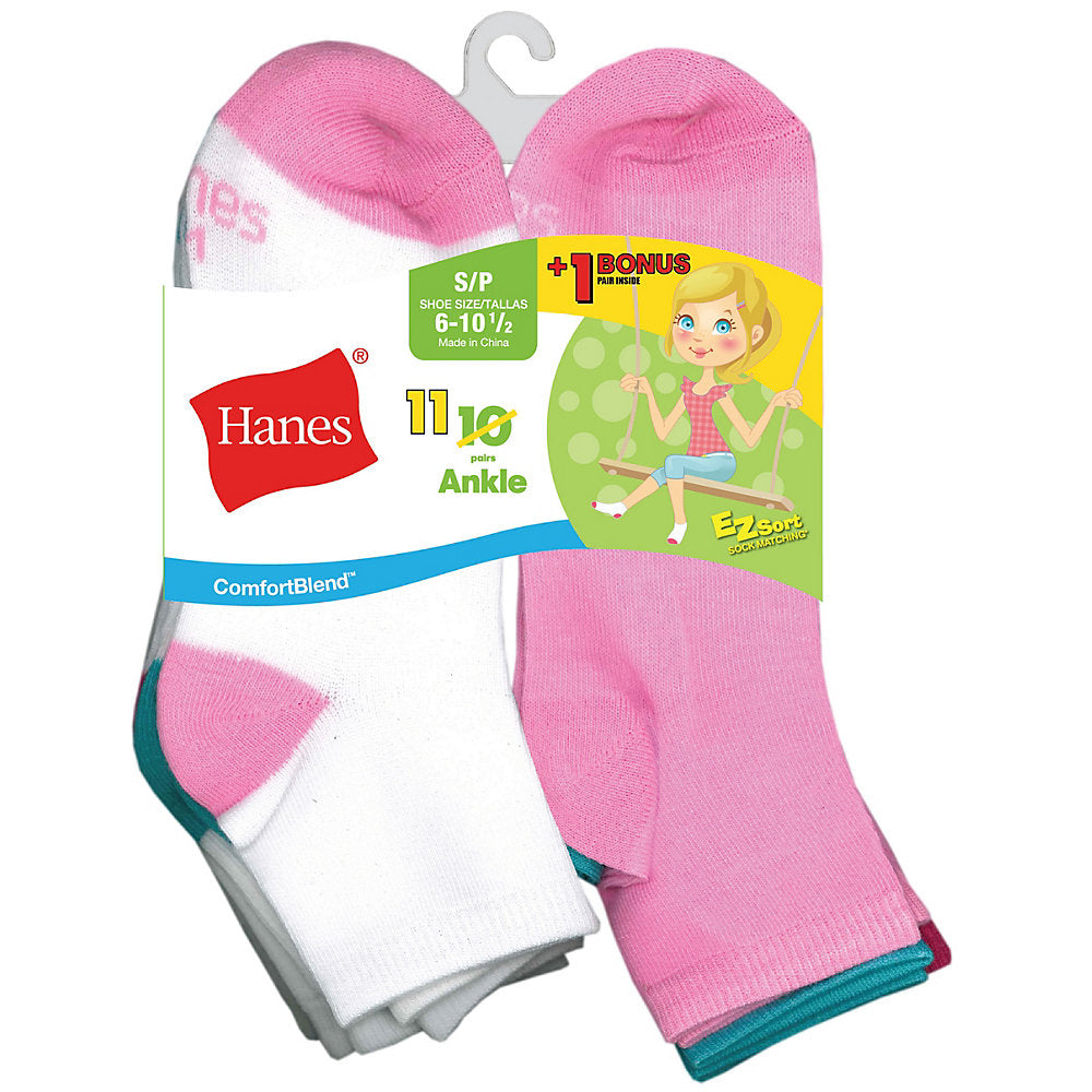 Hanes ComfortBlend® EZ-Sort® Girls' Ankle Socks 11-Pack (Includes 1 Free Bonus Pair) - Lil&Laya