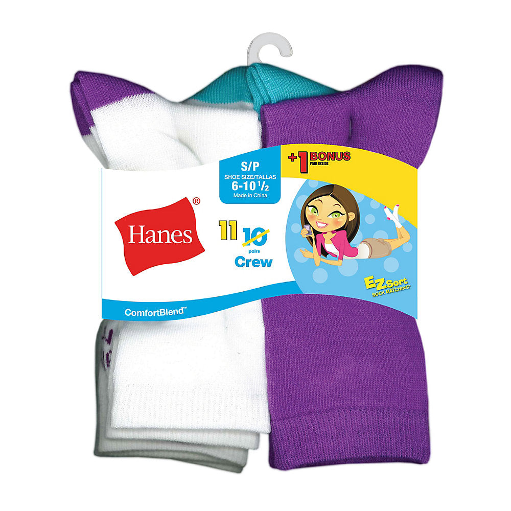 Hanes ComfortBlend® EZ-Sort® Girls' Crew Socks 11-Pack (Includes 1 Free Bonus Pair) - Lil&Laya