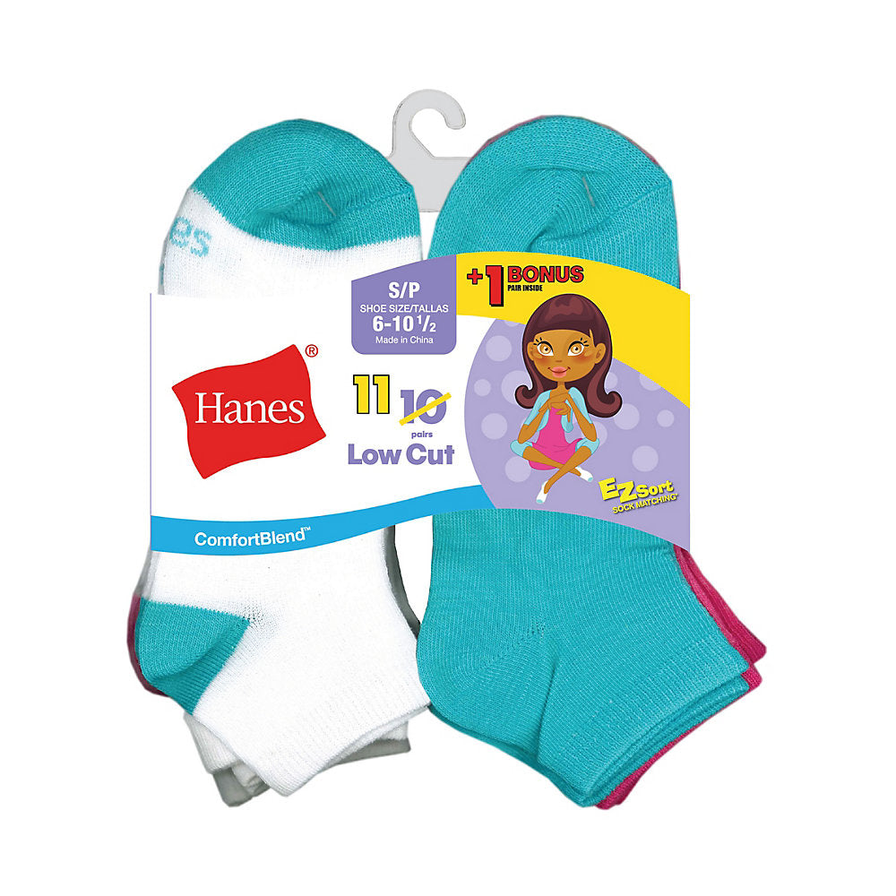 Hanes ComfortBlend® EZ-Sort® Girls' Low Cut Socks 11-Pack (Includes 1 Free Bonus Pair) - Lil&Laya