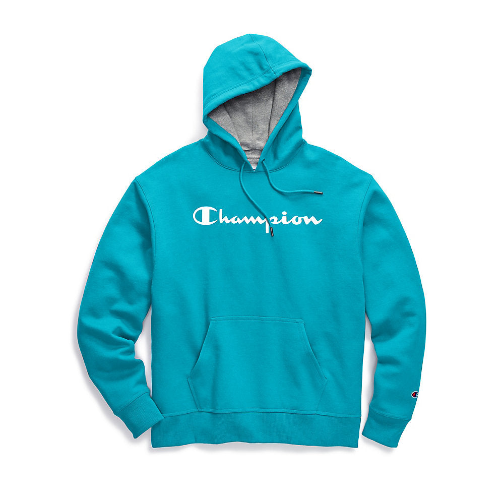 Champion Men's Powerblend® Fleece Pullover Hoodie, Script Logo - Lil&Laya
