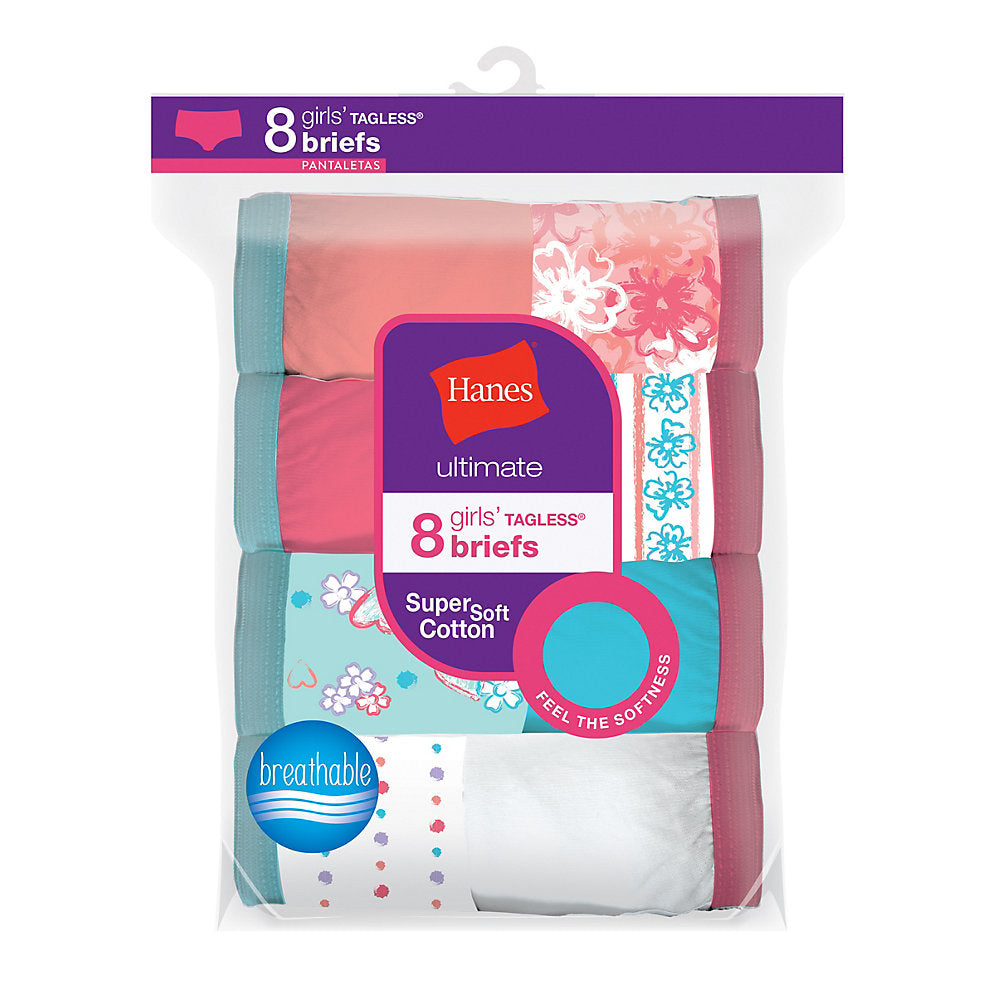 Hanes Ultimate® Girls' Cotton Briefs 8-Pack - Lil&Laya