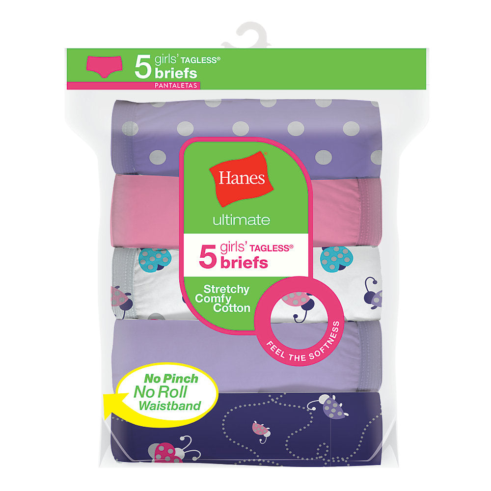 Hanes Ultimate® Girls' Stretchy Comfy Cotton Briefs 5-Pack - Lil&Laya