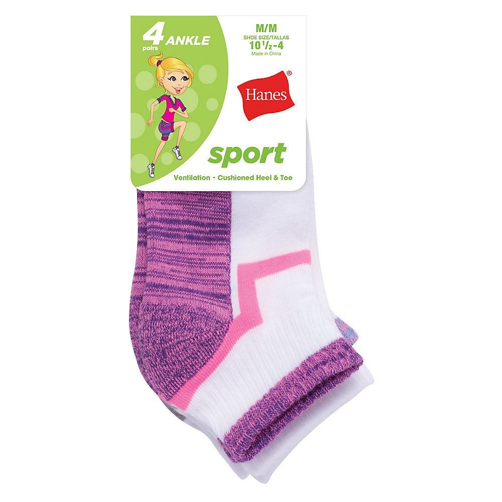 Hanes Girls' Sport Ankle 4-Pack - Lil&Laya