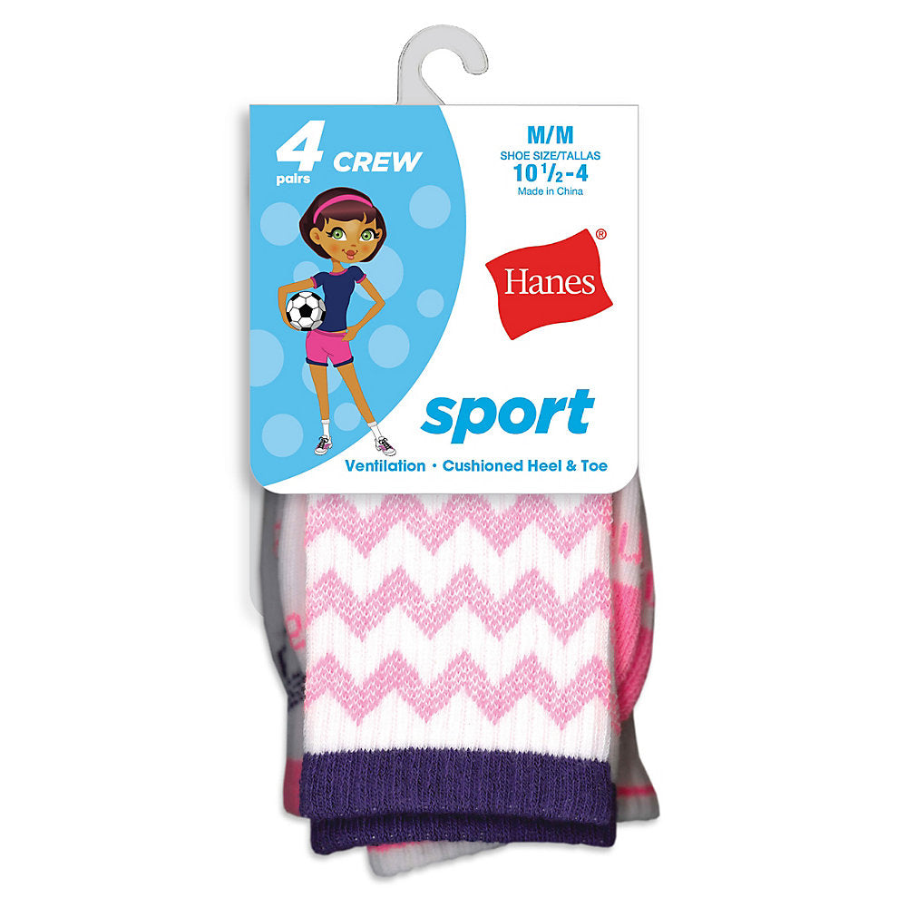 Hanes Girls' Sport Crew Socks 4-Pack - Lil&Laya