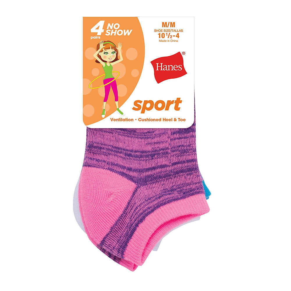 Hanes Girls' Sport No Show Socks 4-Pack - Lil&Laya