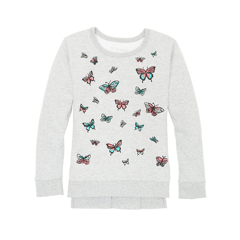Hanes Girls' High-Low Graphic Sweatshirt - Lil&Laya