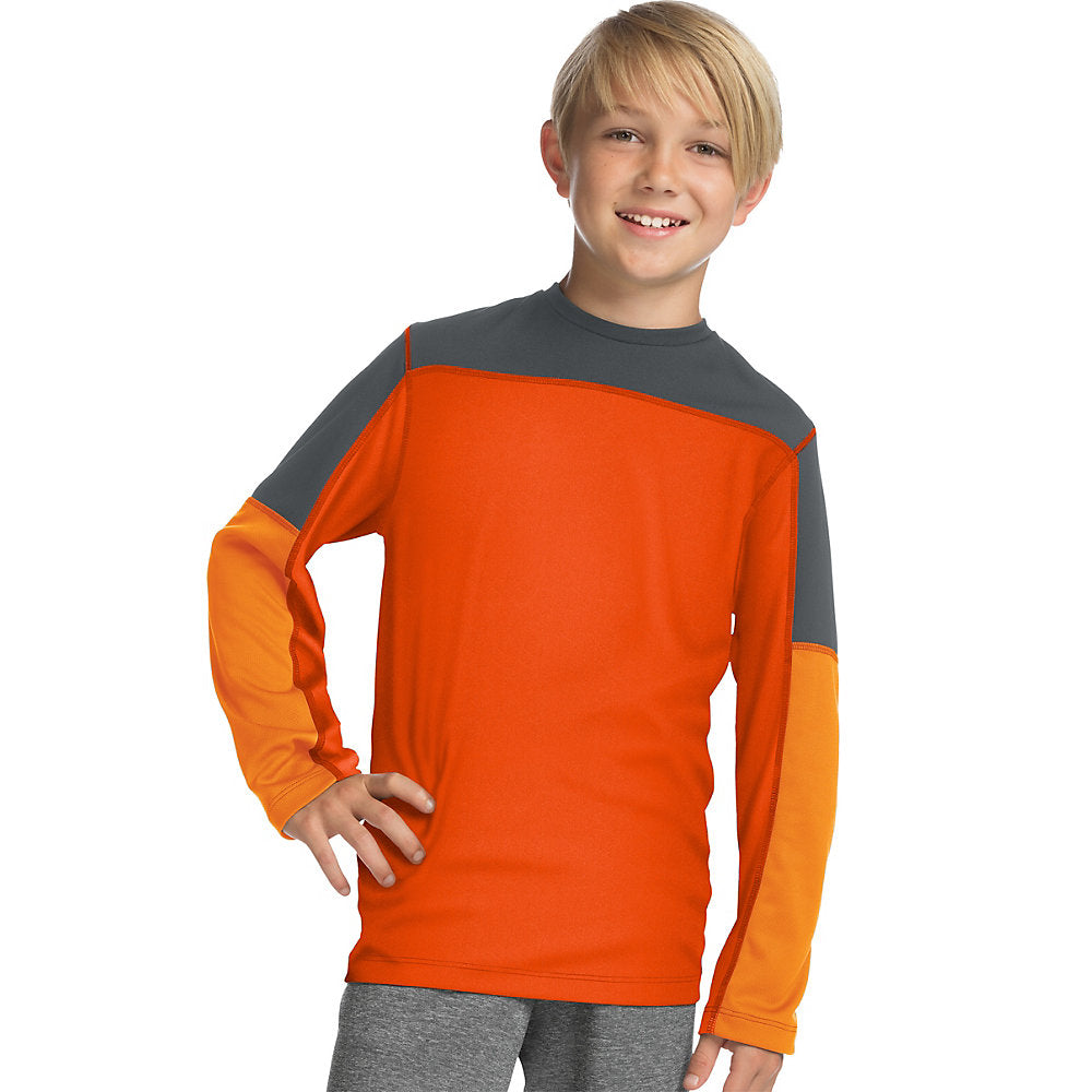 Hanes Sport™ Boys' Long Sleeve Pieced Tech Tee - Lil&Laya