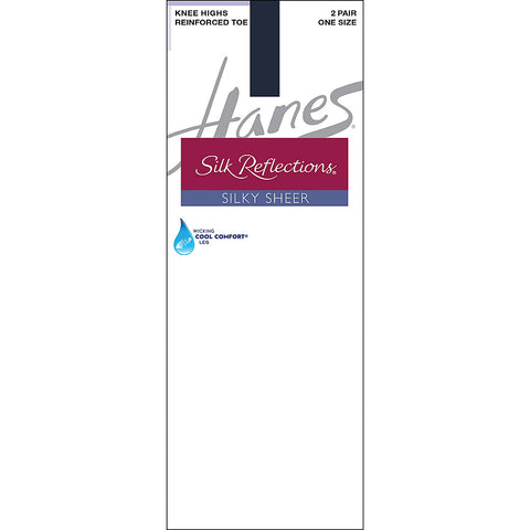 Hanes Silk Reflections Silky Sheer Knee Highs with Reinforced Toe 2-Pack - Lil&Laya