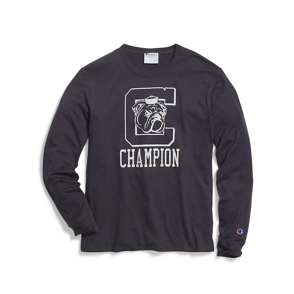 Champion Men's Heritage Long-Sleeve Slub Tee, C Logo with Bulldog - Lil&Laya