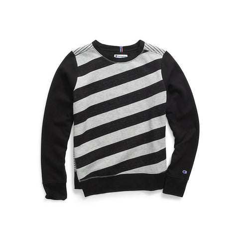 Champion Women Heritage Fleece Asymmetrical Stripe Crew - Lil&Laya