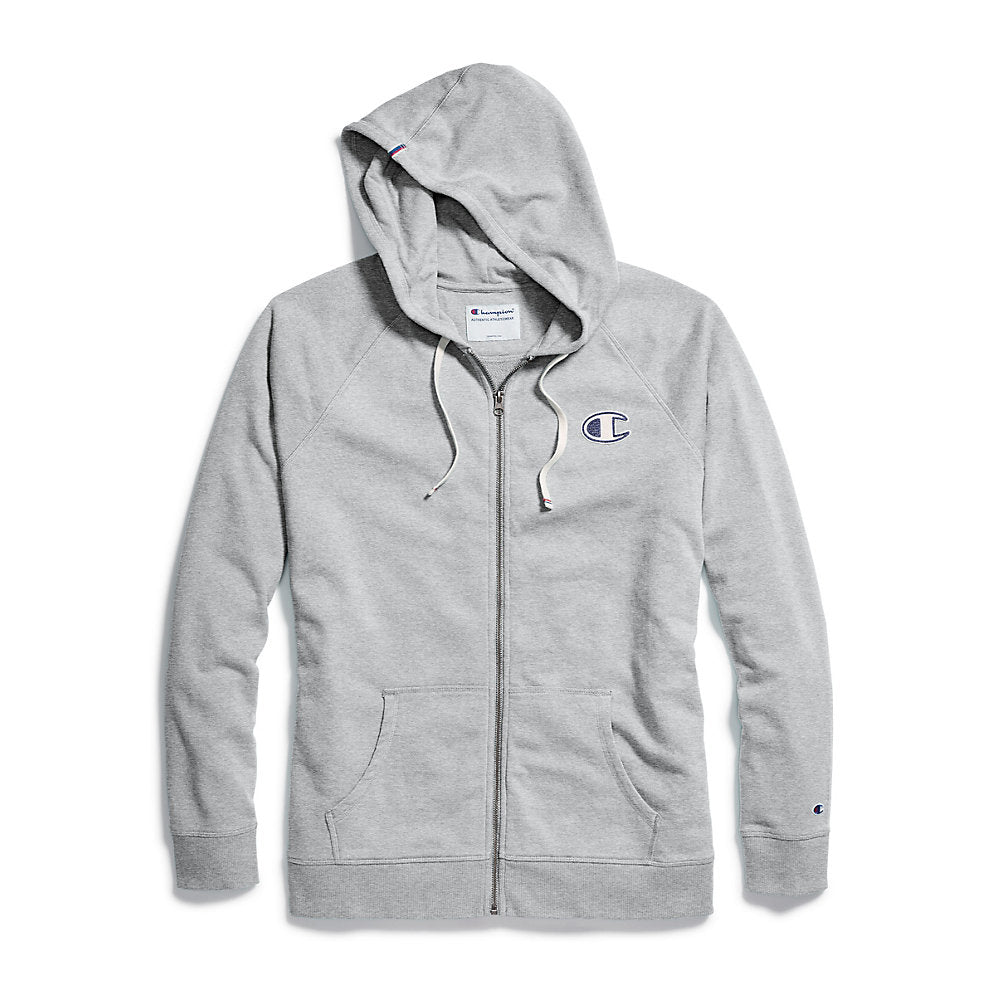 Champion Women's Heritage French Terry Zip Hoodie, Chainstitch C Logo - Lil&Laya