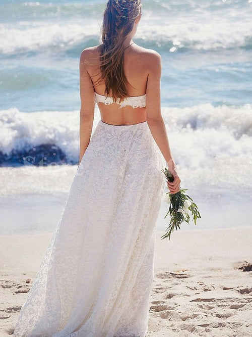 Two-piece strapless simple design a-line lace wedding dress