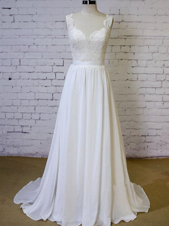 A-line sweetheart straps lace chiffon elegant wedding dress