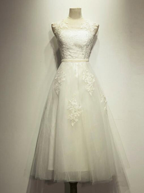 A-line jewel sleeveless appliqued tulle beach wedding dress