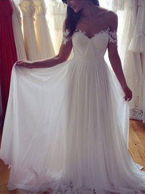 Off the shoulder appliqued pleated chiffon maternity wedding dress