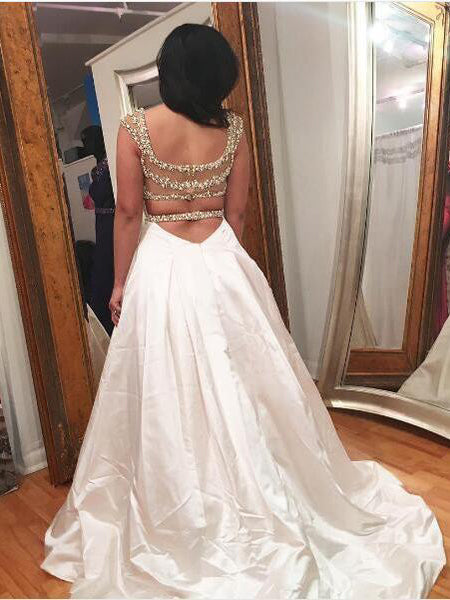 A-line sweetheart sleeveless sexy backless wedding dress