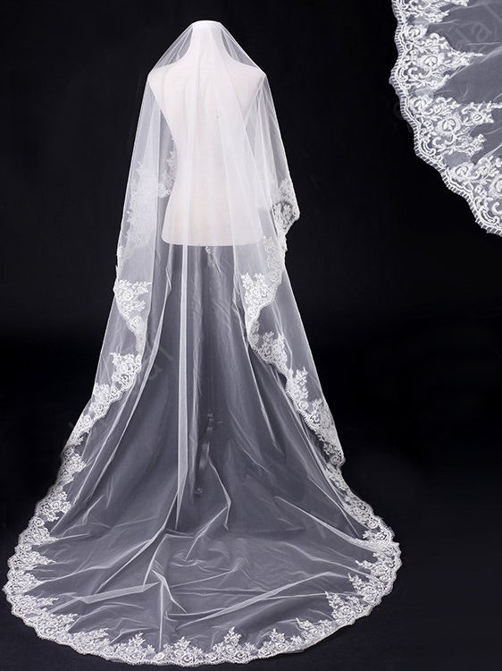 300 cm tulle one tier chapel train bridal veil with appliqued Va034
