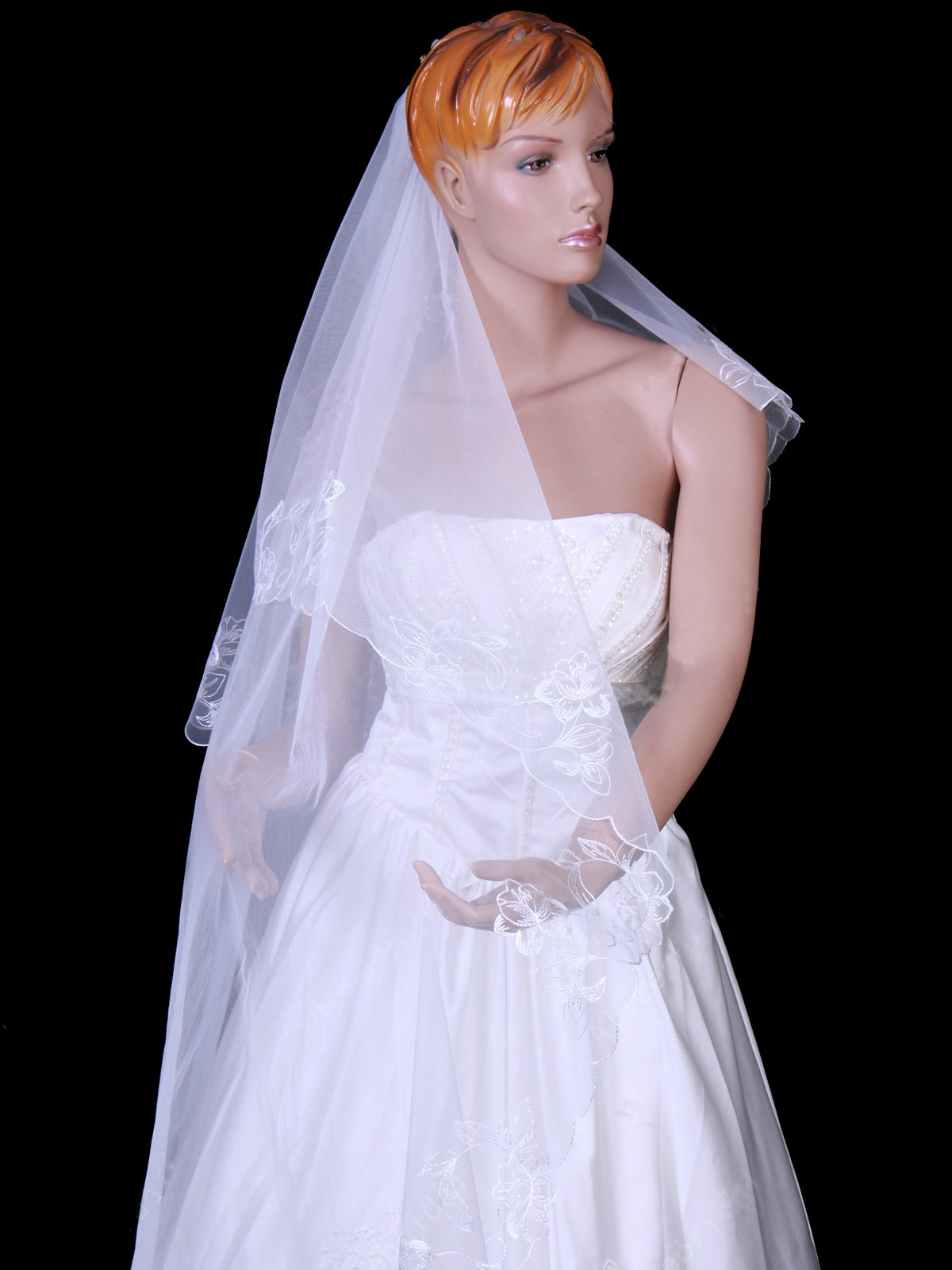 300 cm tulle one tier chapel train bridal veil with embroidery Va011