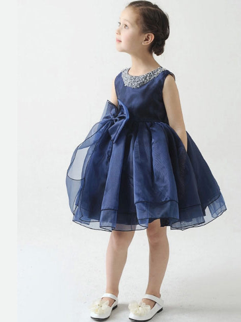 Jewel beaded sleeveless short organza flower girl dress with bowknot