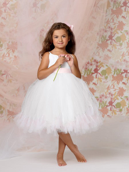 Ball gown spaghetti straps tulle flower girl dress with flowers and sash