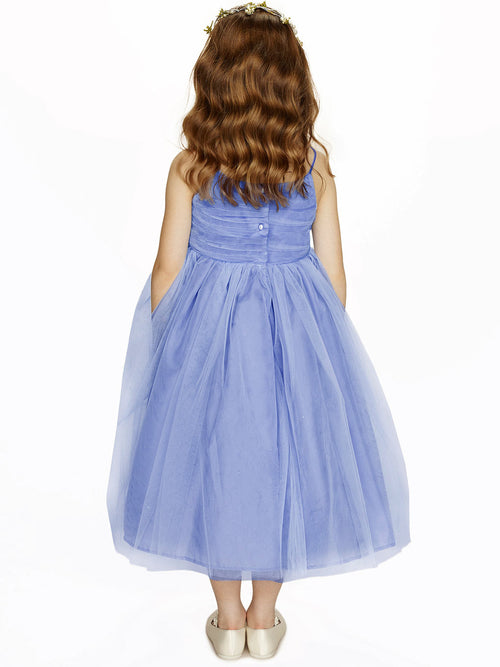 Spaghetti straps pleated a-line flower girl dress