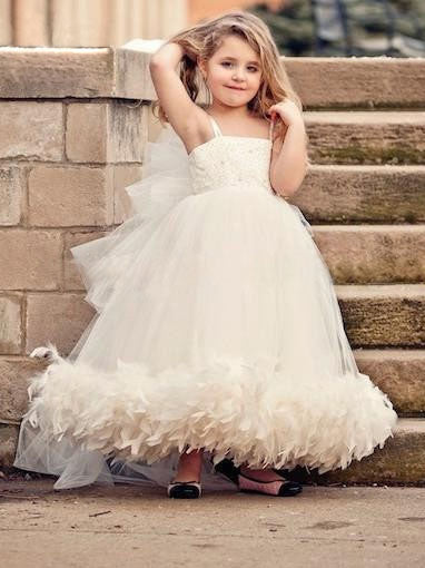 Spaghetti straps beaded ball tulle flower girl dress with feathers