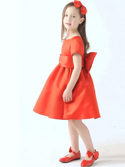Jewel short sleeves taffeta flower girl dress with bowknot