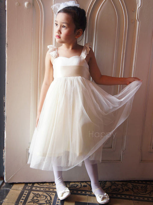 A-line lace straps empire waist tulle cute flower girl dress