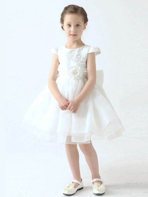 Jewel cap sleeves organza short flower girl dress with flowers