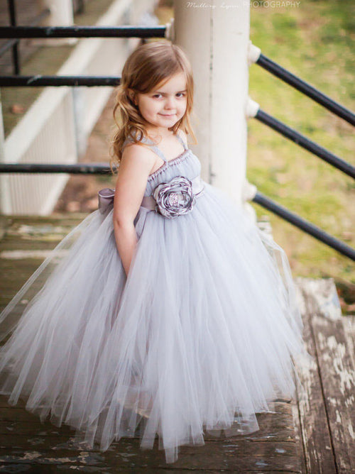Ball gown straps pleated tulle flower girl dress
