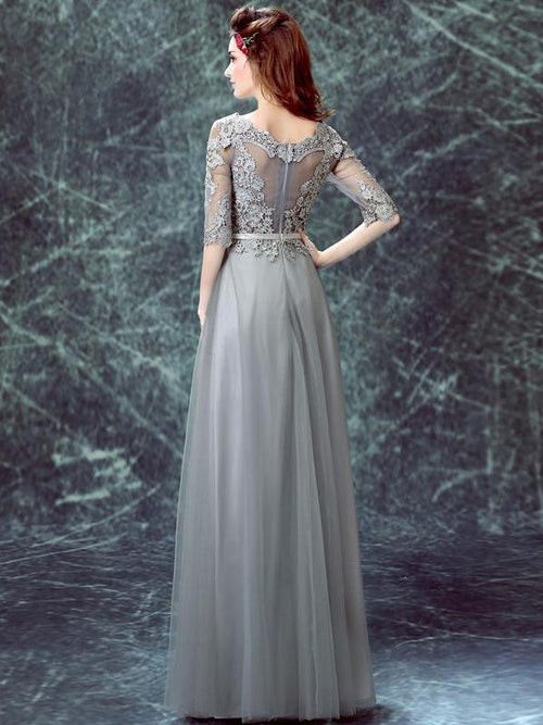 A-line bateau half-sleeves tulle prom dress
