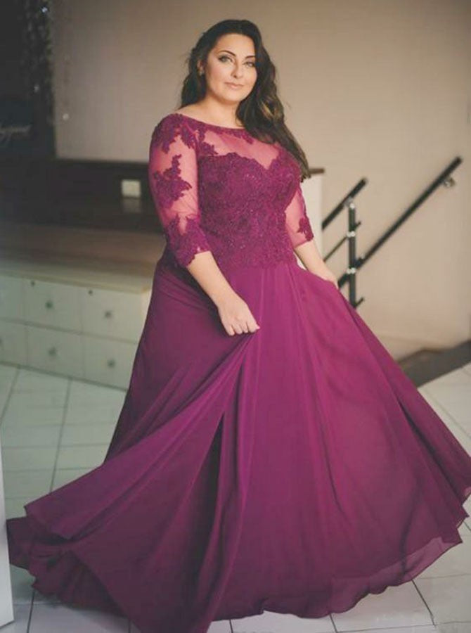 A-line bateau half sleeves appliqued tulle chiffon plus size prom dress