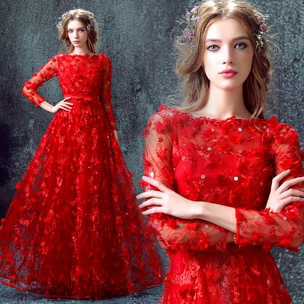 A-line bateau long sleeves 3D flowers+sequins prom dress online