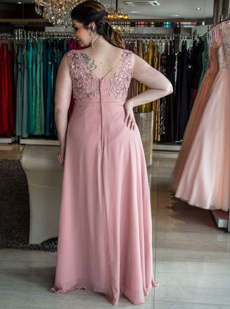 A-line bateau sleeveless appliqued chiffon plus size prom dress