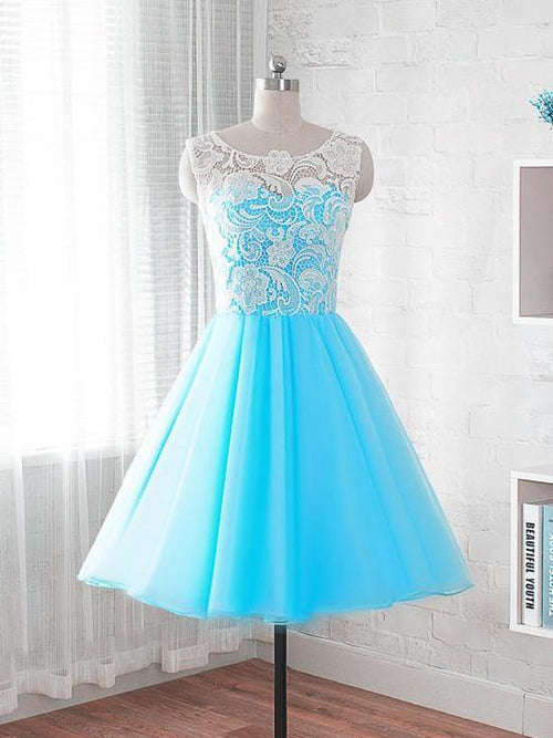 A-line bateau sleeveless blue prom dress with white lace applique