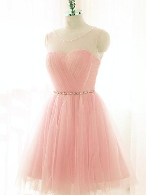 A-line bateau sleeveless pink ruffle sweet 16 prom dress short