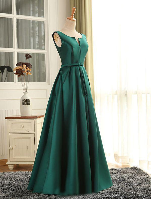 A-line bateau v-neck sleeveless taffeta floor length prom dress with bowknot belt