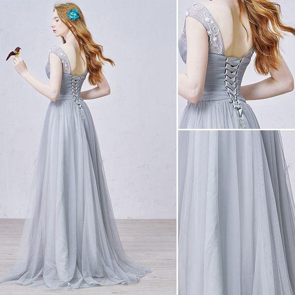 A-line cap sleeves ruffle grey formal prom dress