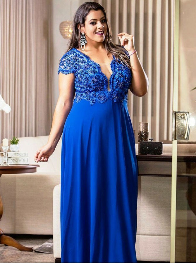 A-line deep v-neck cap sleeves beading plus size prom dress