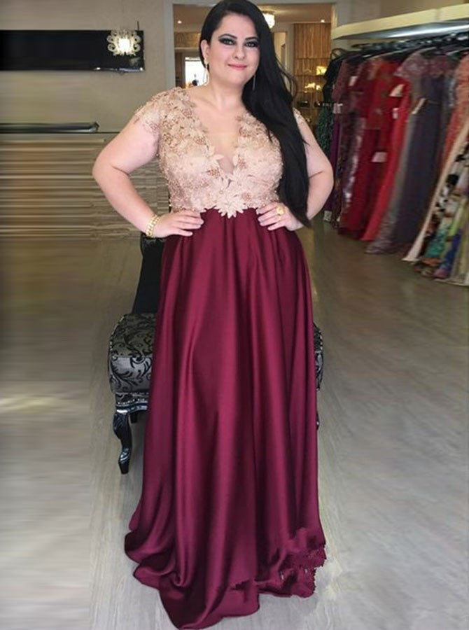 A-line deep v-neck short sleeves plus size prom dress