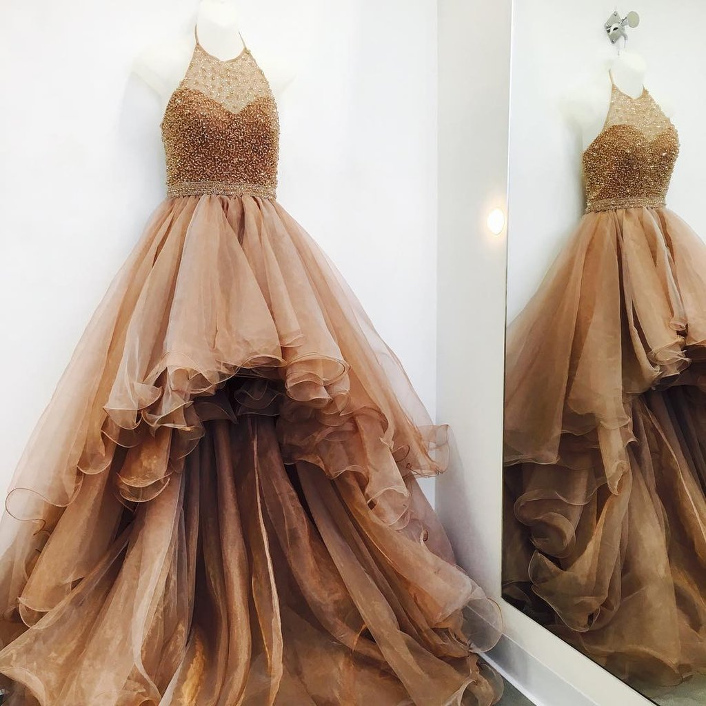 A-line halter beading high low prom dress online hot sale