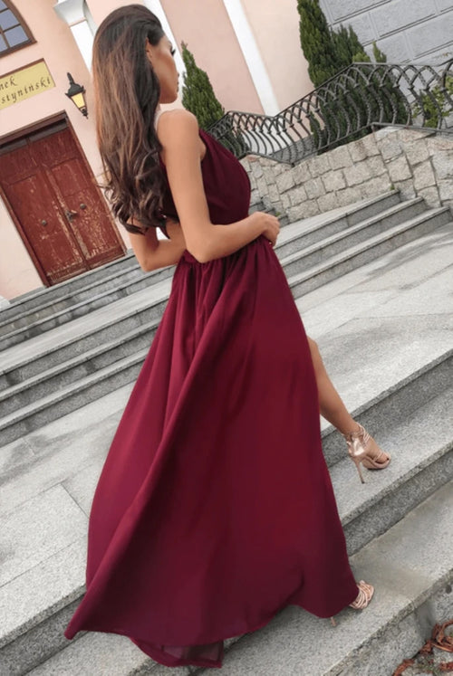 A-line halter design pleated burgundy prom dress with slit