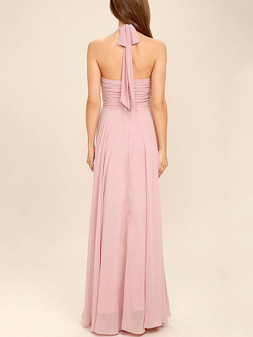 A-line halter ruffle chiffon bridesmaid dress