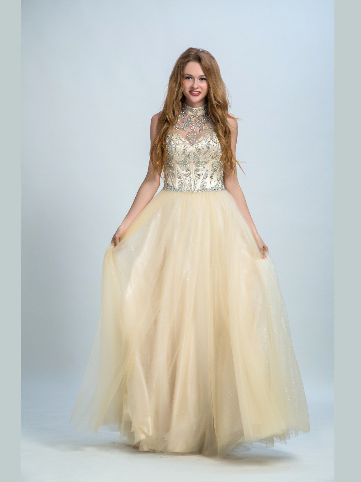 A-line high neck sleeveless rhinestone tulle prom dress
