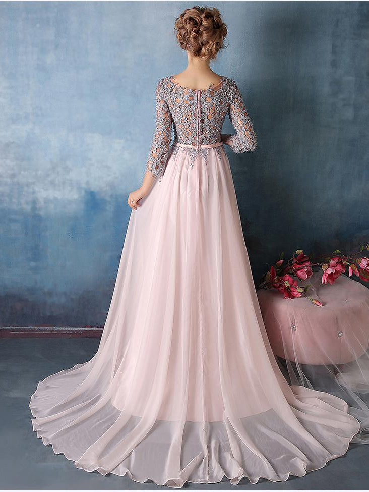 A-line jewel 3/4 length sleeves appliqued chiffon elegant prom dress