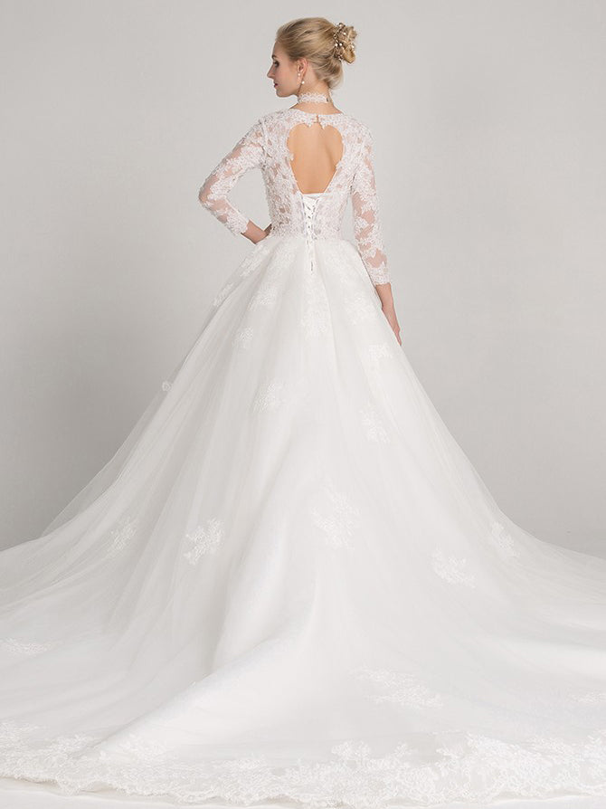 A-line jewel long sleeves keyhole wedding dress with train