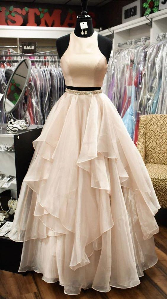 A-line jewel satin uper+layered organza two-piece long prom dress